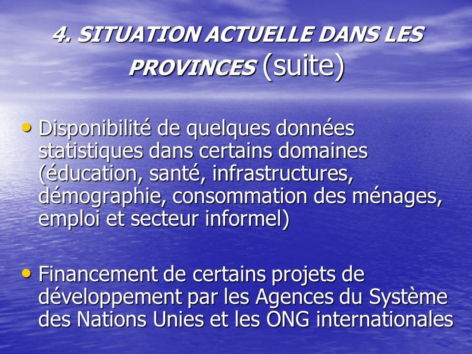 4. SITUATION ACTUELLE DANS LES PROVINCES (suite) Disponibilité de quelques données statistiques dans certains domaines (éducation, santé, infrastructu