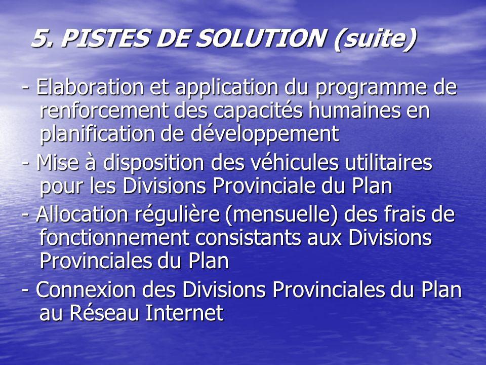 5. PISTES DE SOLUTION (suite) - Elaboration et application du programme de renforcement des capacités humaines en planification de développement - Mis