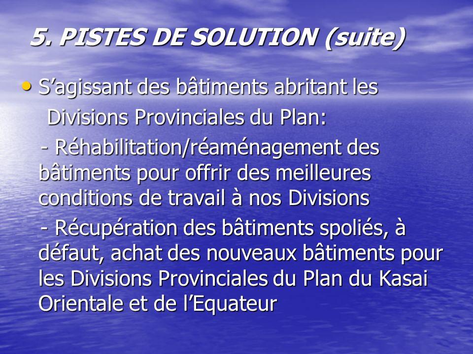 5. PISTES DE SOLUTION (suite) Sagissant des bâtiments abritant les Sagissant des bâtiments abritant les Divisions Provinciales du Plan: Divisions Prov