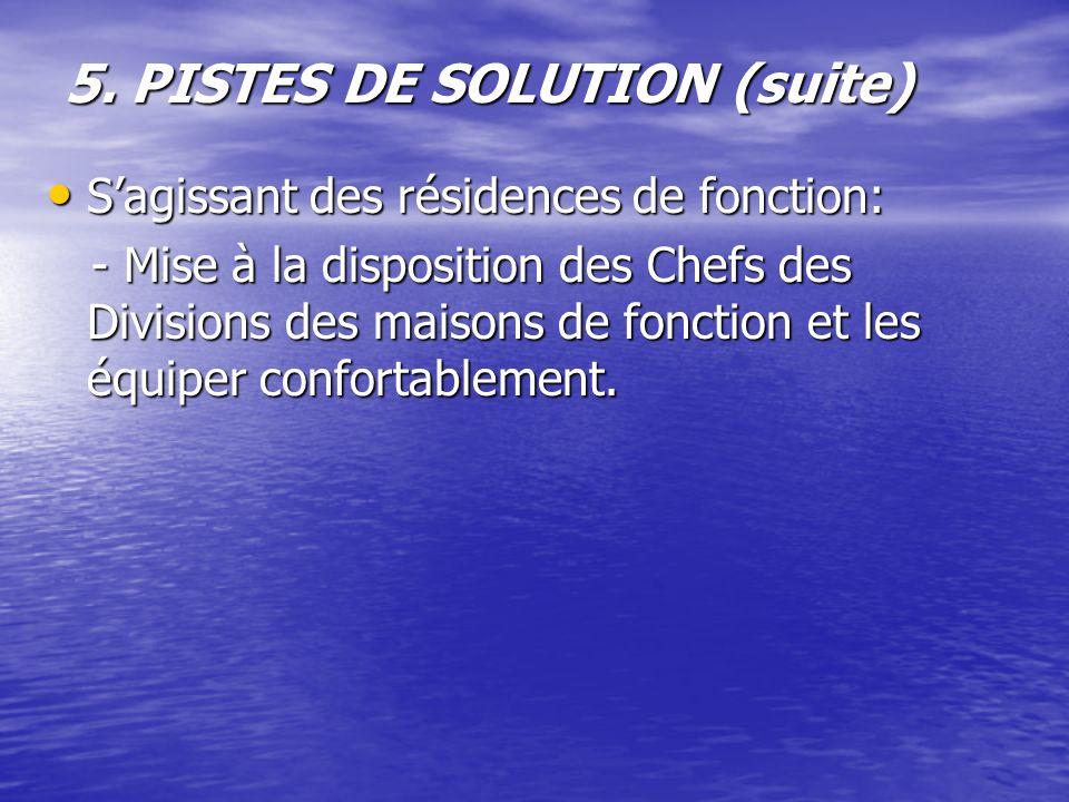 5. PISTES DE SOLUTION (suite) Sagissant des résidences de fonction: Sagissant des résidences de fonction: - Mise à la disposition des Chefs des Divisi