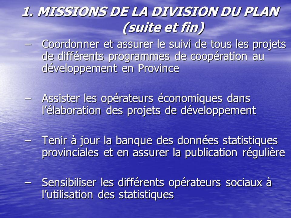 1. MISSIONS DE LA DIVISION DU PLAN (suite et fin) –Coordonner et assurer le suivi de tous les projets de différents programmes de coopération au dével
