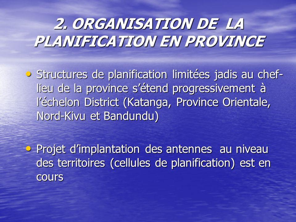 2. ORGANISATION DE LA PLANIFICATION EN PROVINCE Structures de planification limitées jadis au chef- lieu de la province sétend progressivement à léche