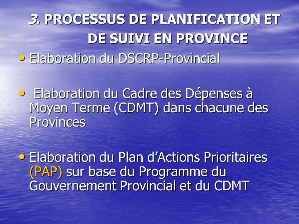 3. PROCESSUS DE PLANIFICATION ET DE SUIVI EN PROVINCE Elaboration du DSCRP-Provincial Elaboration du DSCRP-Provincial Elaboration du Cadre des Dépense