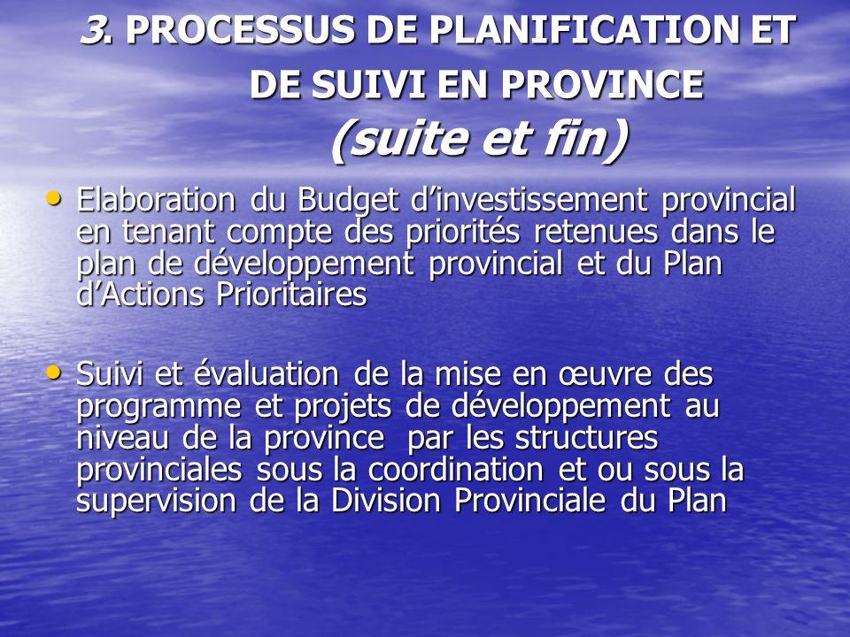3. PROCESSUS DE PLANIFICATION ET DE SUIVI EN PROVINCE (suite et fin) Elaboration du Budget dinvestissement provincial en tenant compte des priorités r