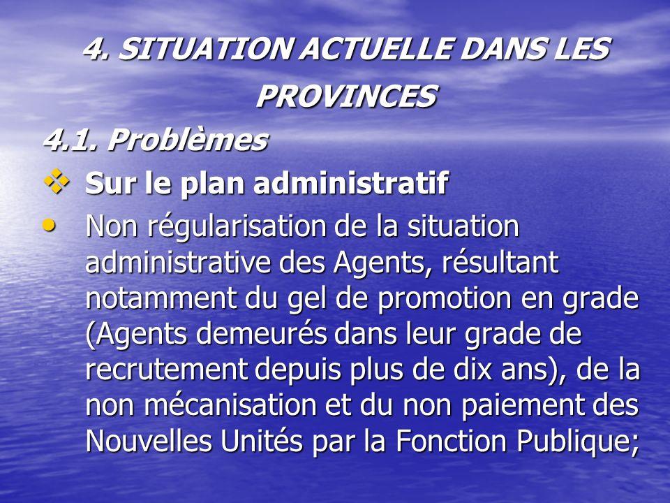 4. SITUATION ACTUELLE DANS LES PROVINCES 4.1. Problèmes Sur le plan administratif Sur le plan administratif Non régularisation de la situation adminis