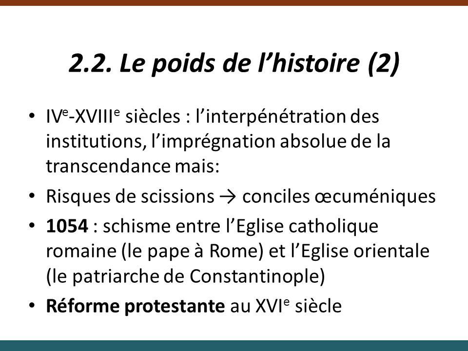2.2. Le poids de lhistoire (2) IV e -XVIII e siècles : linterpénétration des institutions, limprégnation absolue de la transcendance mais: Risques de