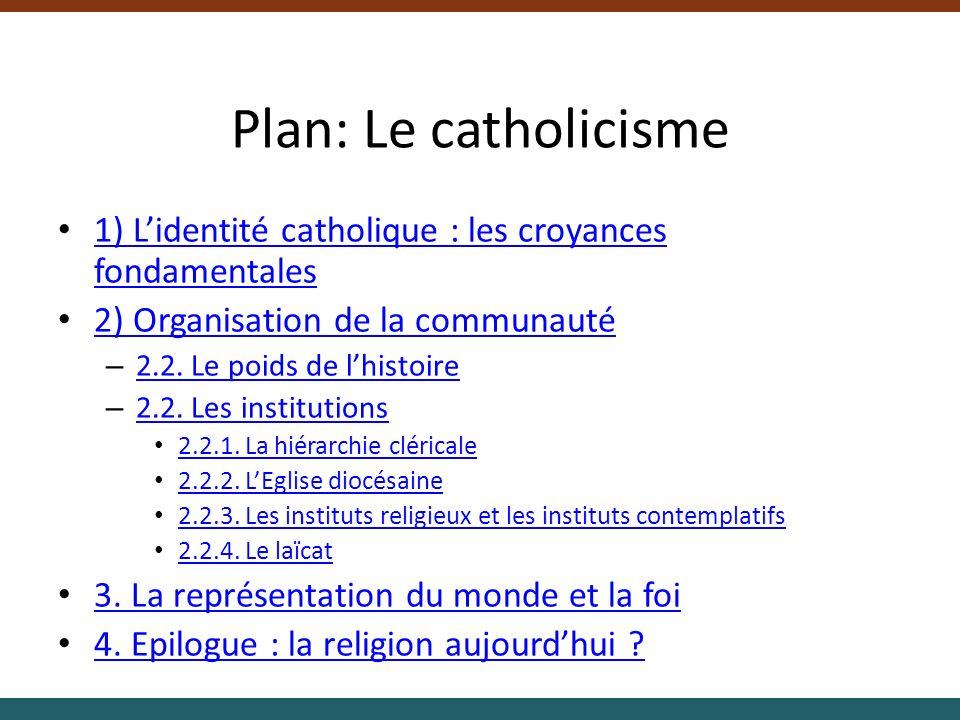 Plan: Le catholicisme 1) Lidentité catholique : les croyances fondamentales 1) Lidentité catholique : les croyances fondamentales 2) Organisation de l