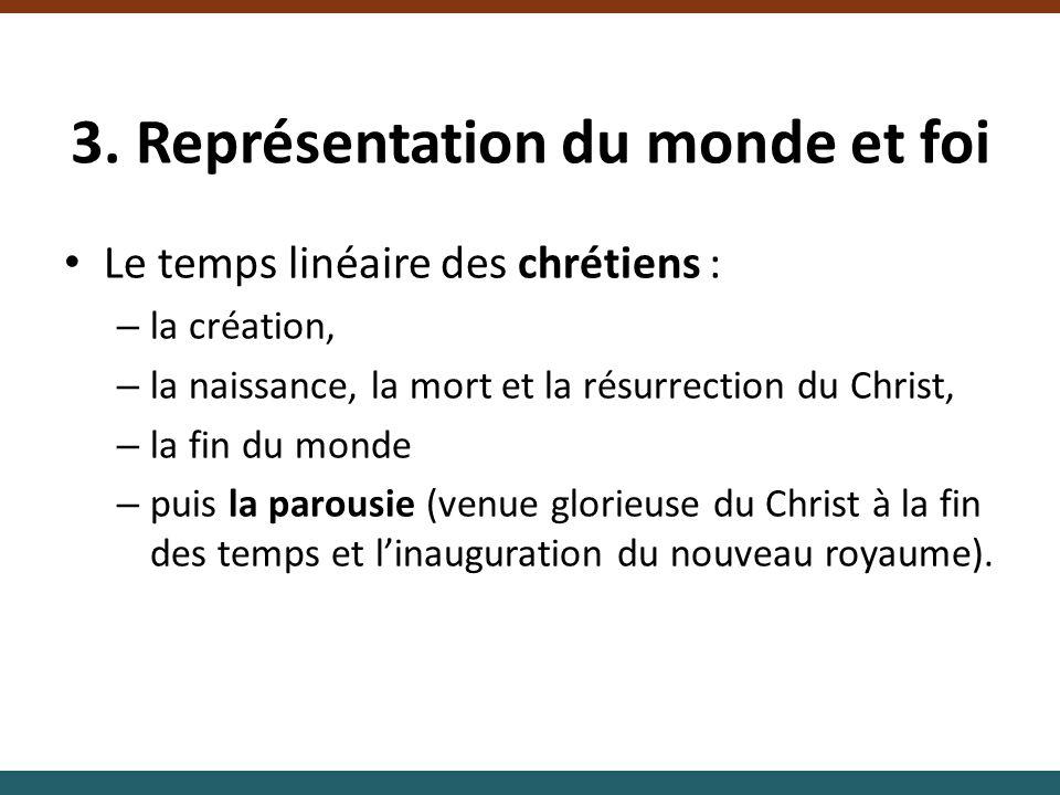 3. Représentation du monde et foi Le temps linéaire des chrétiens : – la création, – la naissance, la mort et la résurrection du Christ, – la fin du m
