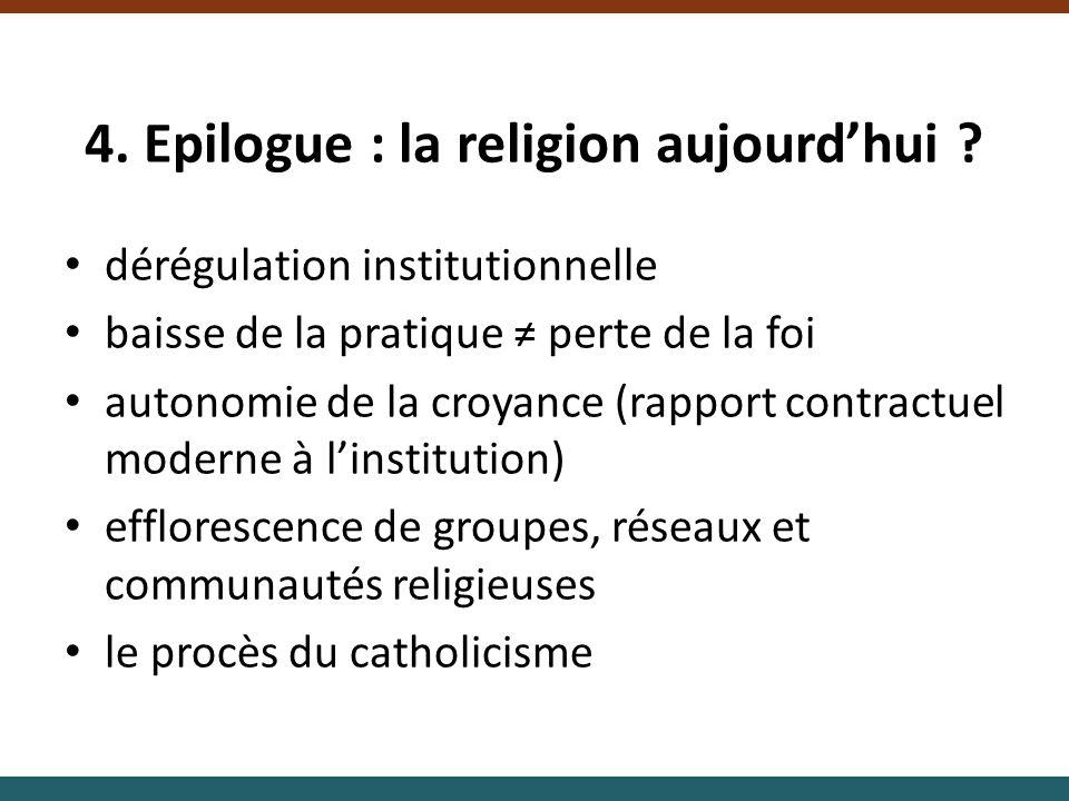 4. Epilogue : la religion aujourdhui ? dérégulation institutionnelle baisse de la pratique perte de la foi autonomie de la croyance (rapport contractu