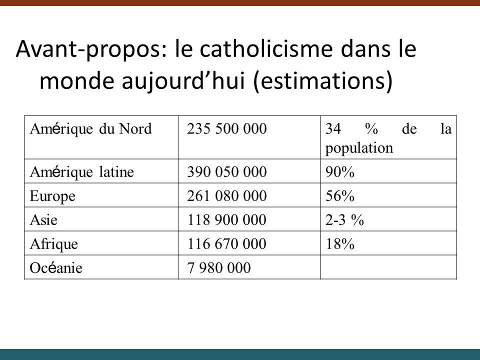 Avant-propos: le catholicisme dans le monde aujourdhui (estimations) Am é rique du Nord 235 500 00034 % de la population Am é rique latine 390 050 000