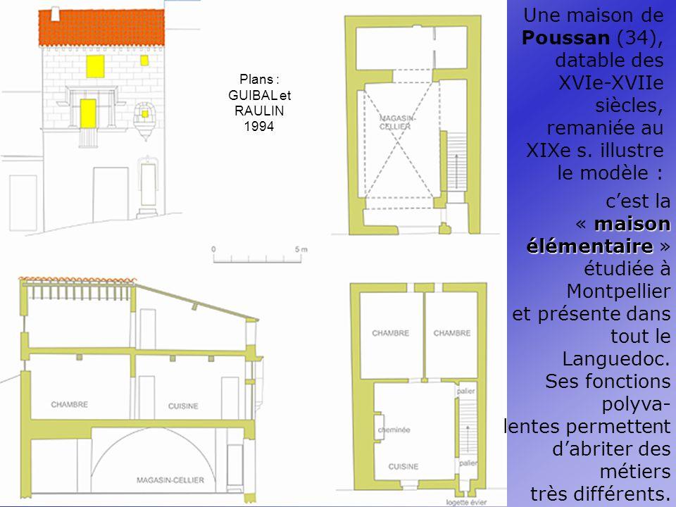 Plans : GUIBAL et RAULIN 1994 Une maison de Poussan (34), datable des XVIe-XVIIe siècles, remaniée au XIXe s.