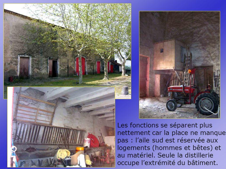 Les fonctions se séparent plus nettement car la place ne manque pas : laile sud est réservée aux logements (hommes et bêtes) et au matériel.