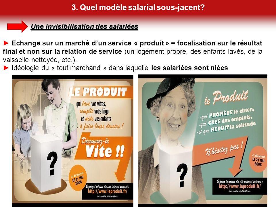 3. Quel modèle salarial sous-jacent? 13 Une invisibilisation des salariées Echange sur un marché dun service « produit » = focalisation sur le résulta