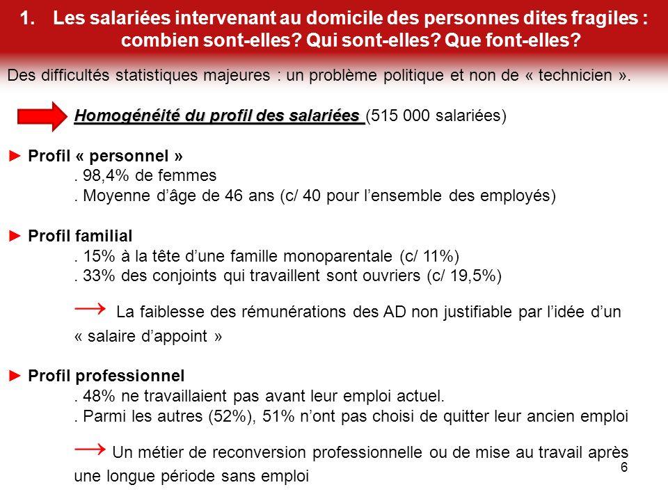 1.Les salariées intervenant au domicile des personnes dites fragiles : combien sont-elles.