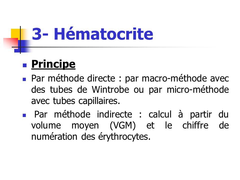 3- Hématocrite Principe Par méthode directe : par macro-méthode avec des tubes de Wintrobe ou par micro-méthode avec tubes capillaires. Par méthode in