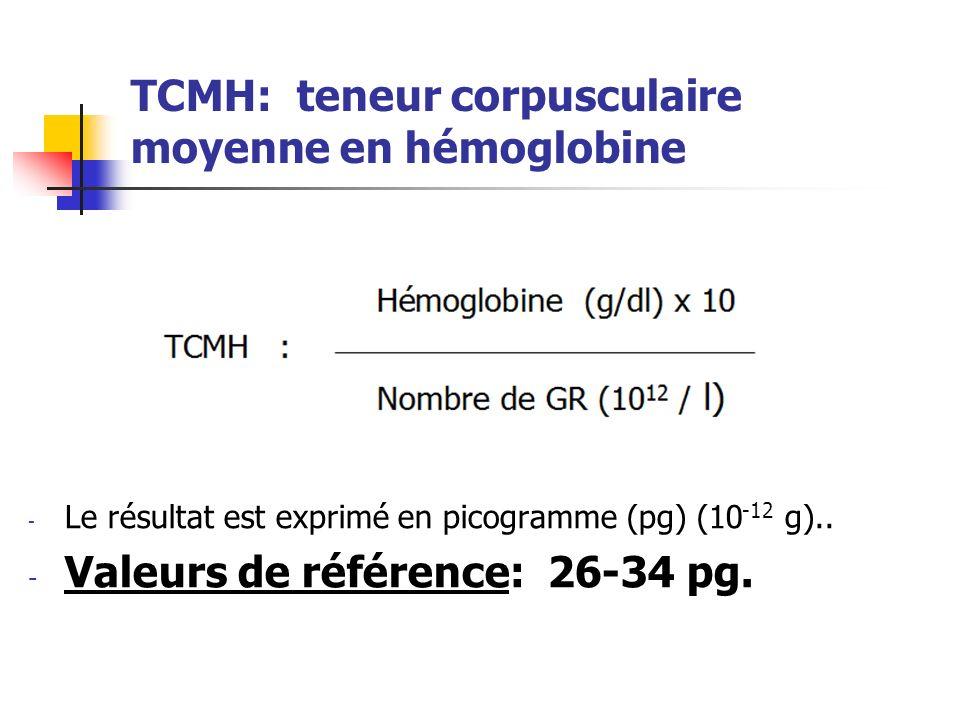 TCMH: teneur corpusculaire moyenne en hémoglobine - Le résultat est exprimé en picogramme (pg) (10 -12 g).. - Valeurs de référence: 26-34 pg.