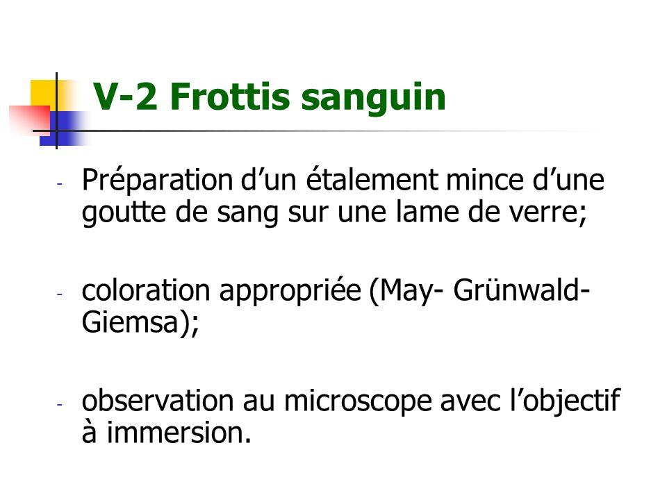 V-2 Frottis sanguin - Préparation dun étalement mince dune goutte de sang sur une lame de verre; - coloration appropriée (May- Grünwald- Giemsa); - ob
