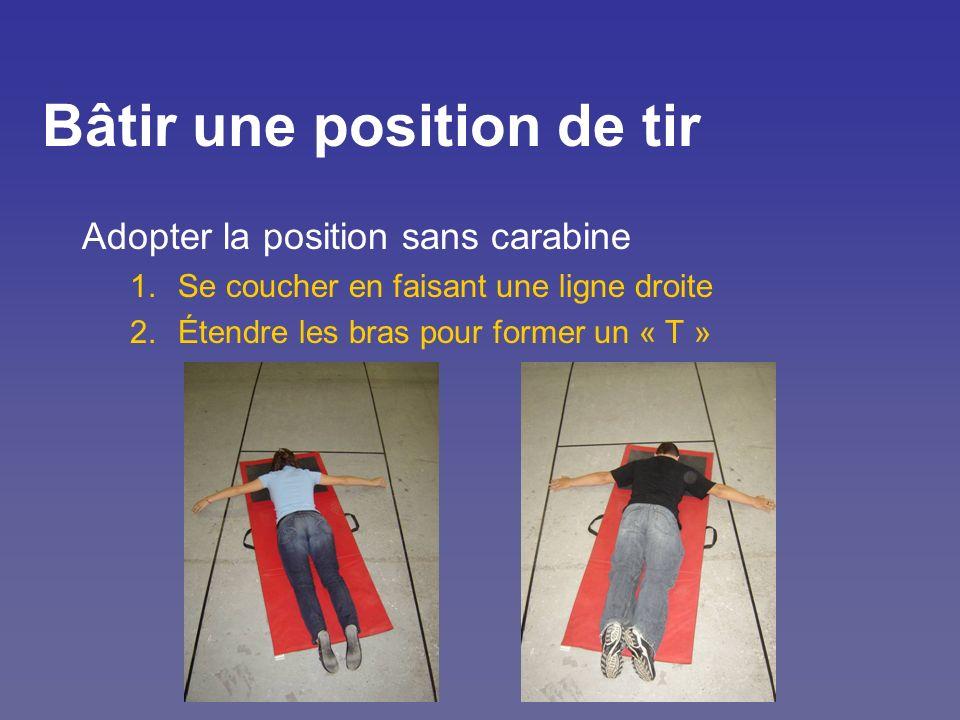 Bâtir une position de tir Adopter la position sans carabine 1.Se coucher en faisant une ligne droite 2.Étendre les bras pour former un « T »