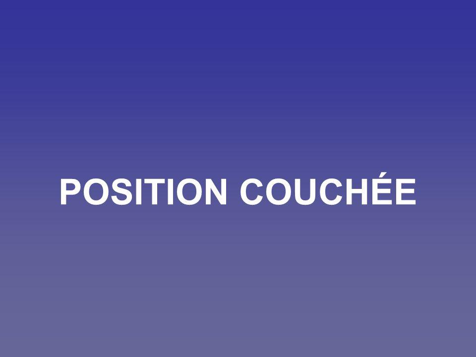 Position couchée Une bonne position doit être: Stable Confortable Naturelle Sans tension Constante Réglementaire