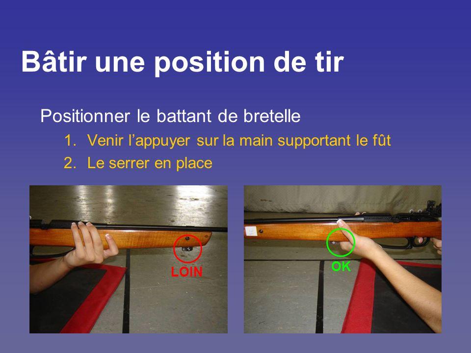 Bâtir une position de tir Positionner le battant de bretelle 1.Venir lappuyer sur la main supportant le fût 2.Le serrer en place OK LOIN
