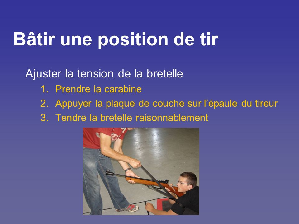 Bâtir une position de tir Ajuster la tension de la bretelle 1.Prendre la carabine 2.Appuyer la plaque de couche sur lépaule du tireur 3.Tendre la bret