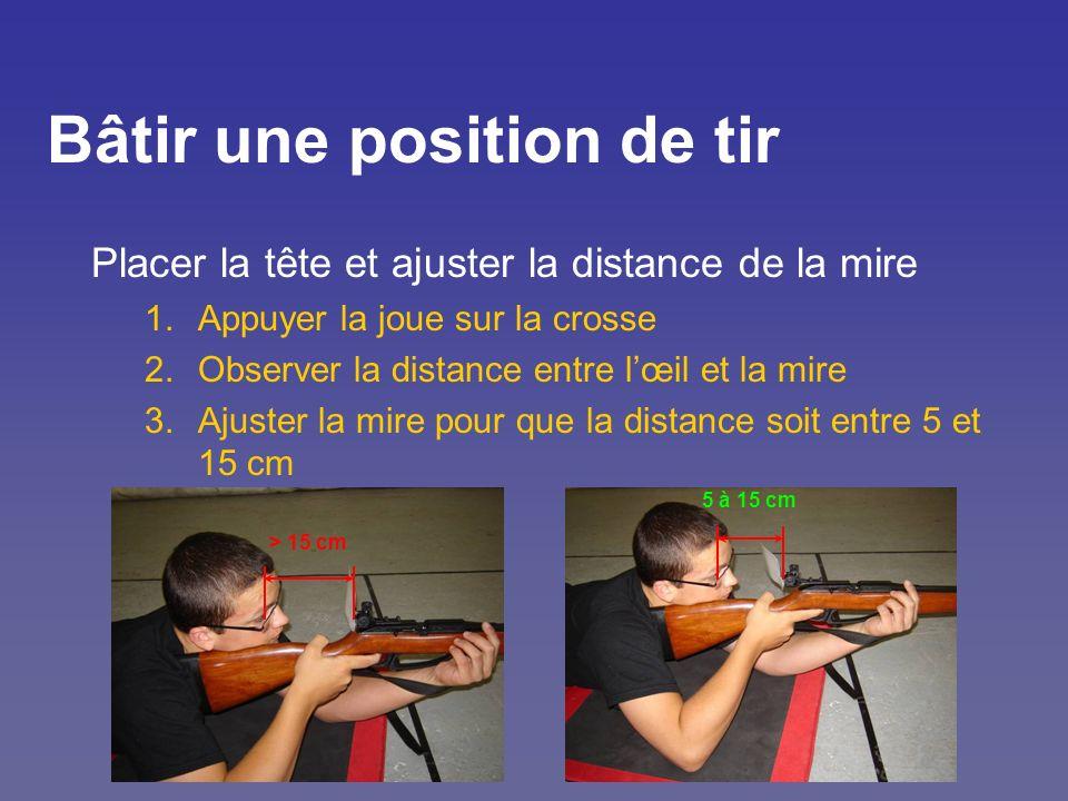 Bâtir une position de tir Placer la tête et ajuster la distance de la mire 1.Appuyer la joue sur la crosse 2.Observer la distance entre lœil et la mir