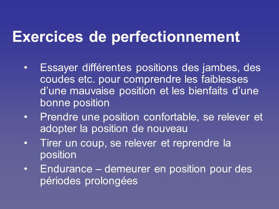 Exercices de perfectionnement Essayer différentes positions des jambes, des coudes etc. pour comprendre les faiblesses dune mauvaise position et les b