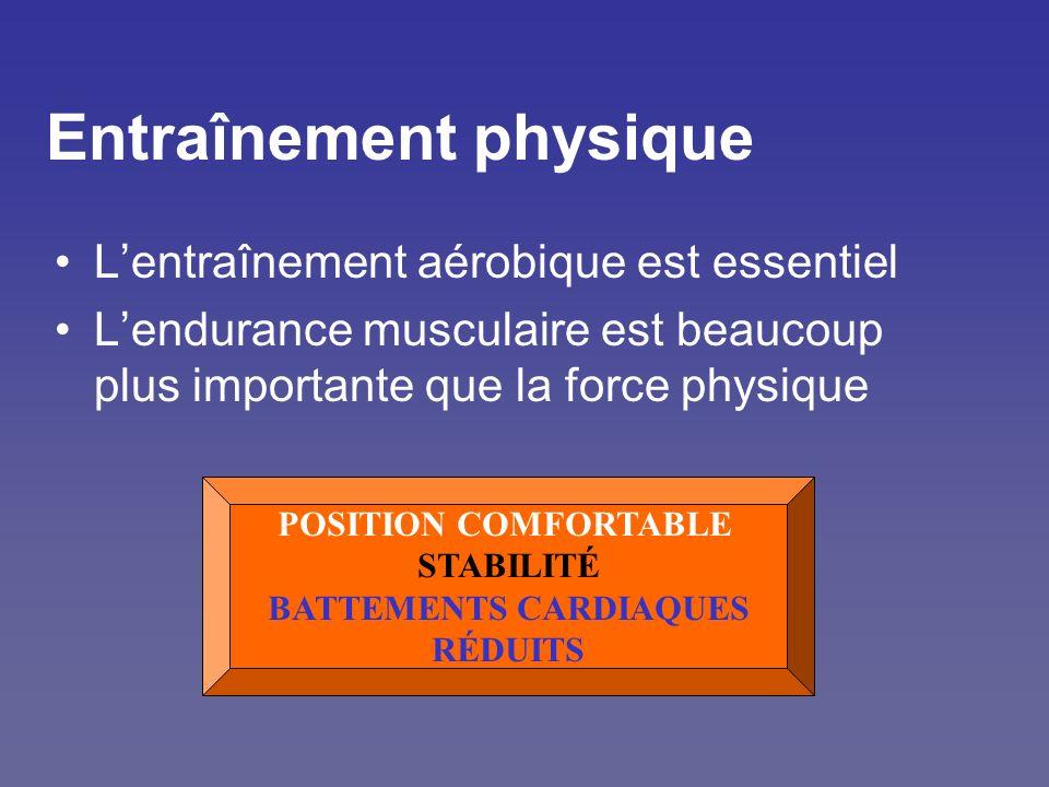 Entraînement physique Lentraînement aérobique est essentiel Lendurance musculaire est beaucoup plus importante que la force physique POSITION COMFORTA