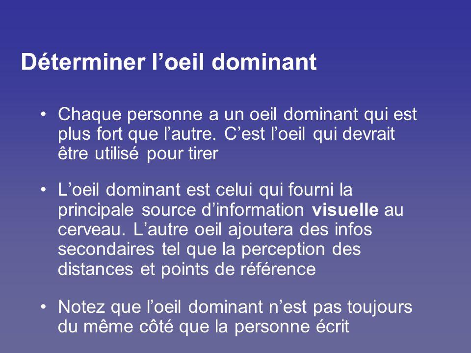 Déterminer loeil dominant Chaque personne a un oeil dominant qui est plus fort que lautre. Cest loeil qui devrait être utilisé pour tirer Loeil domina