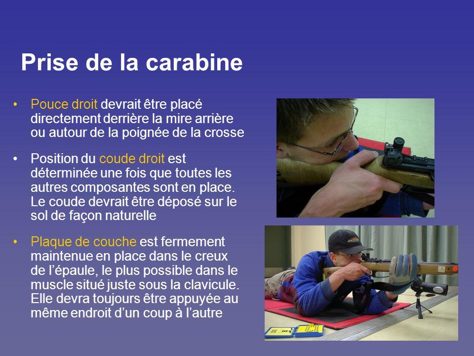 Prise de la carabine Pouce droit devrait être placé directement derrière la mire arrière ou autour de la poignée de la crosse Position du coude droit