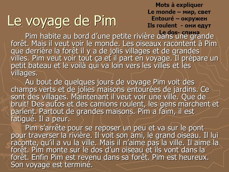 Le voyage de Pim Рim habite au bord dune petite rivière dans une grande forêt.