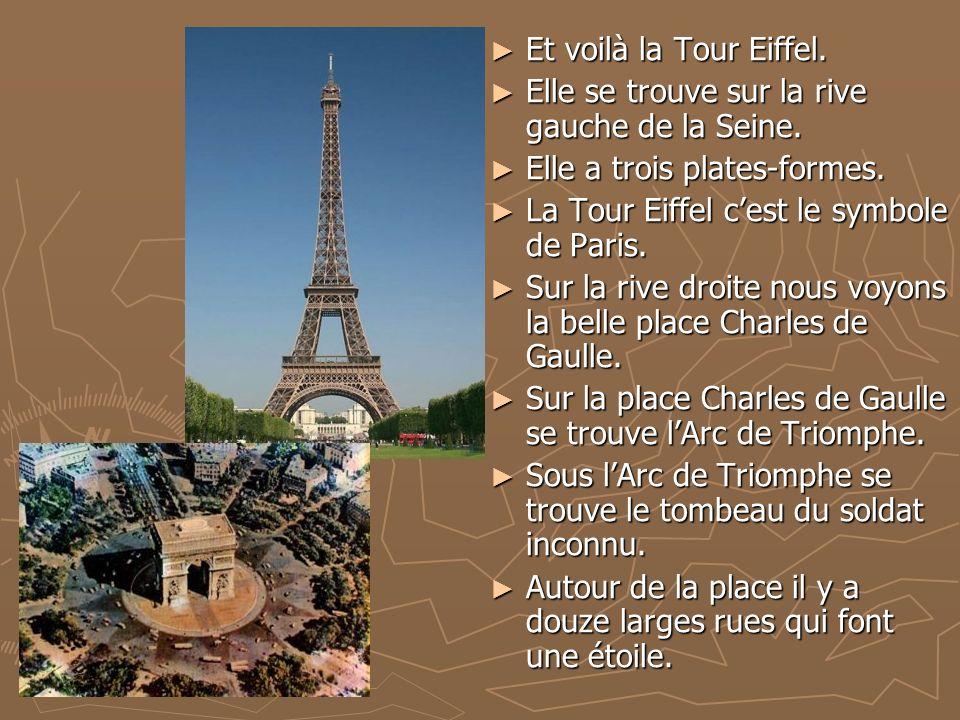 Et voilà la Tour Eiffel. Elle se trouve sur la rive gauche de la Seine.