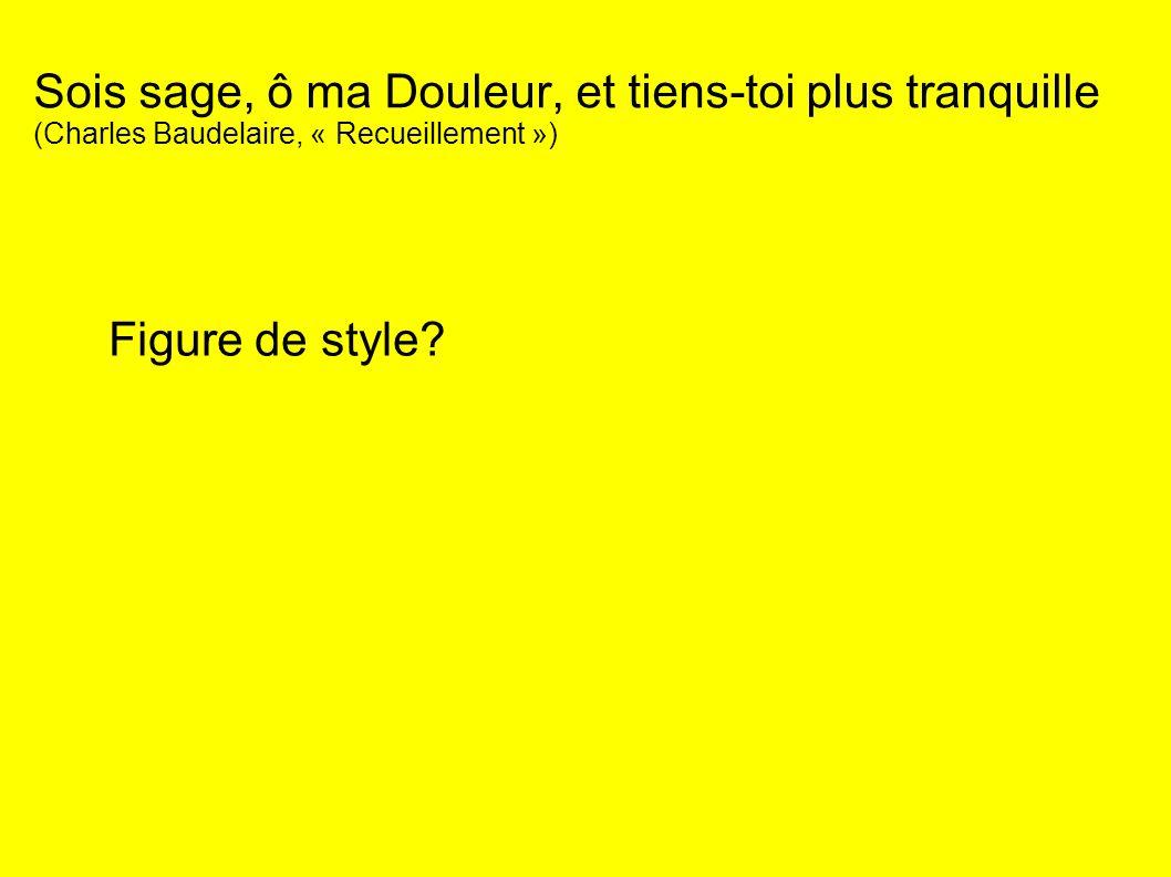 Sois sage, ô ma Douleur, et tiens-toi plus tranquille (Charles Baudelaire, « Recueillement ») Figure de style?