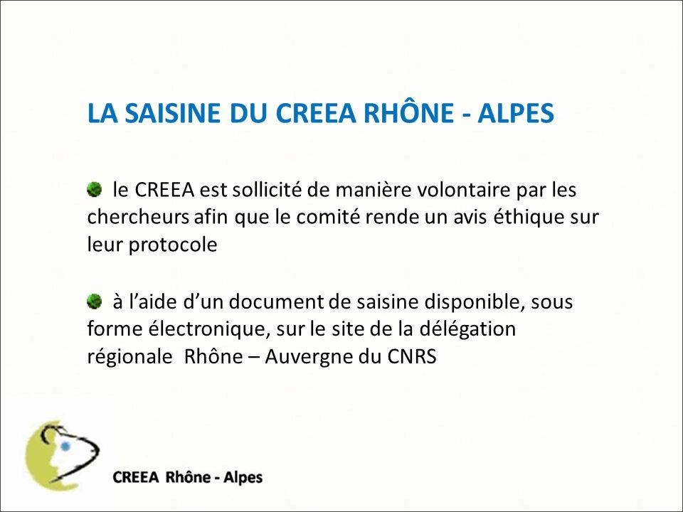 LA SAISINE DU CREEA RHÔNE - ALPES le CREEA est sollicité de manière volontaire par les chercheurs afin que le comité rende un avis éthique sur leur protocole à laide dun document de saisine disponible, sous forme électronique, sur le site de la délégation régionale Rhône – Auvergne du CNRS