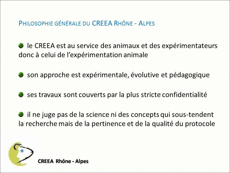 P HILOSOPHIE GÉNÉRALE DU CREEA R HÔNE - A LPES le CREEA est au service des animaux et des expérimentateurs donc à celui de lexpérimentation animale son approche est expérimentale, évolutive et pédagogique ses travaux sont couverts par la plus stricte confidentialité il ne juge pas de la science ni des concepts qui sous-tendent la recherche mais de la pertinence et de la qualité du protocole