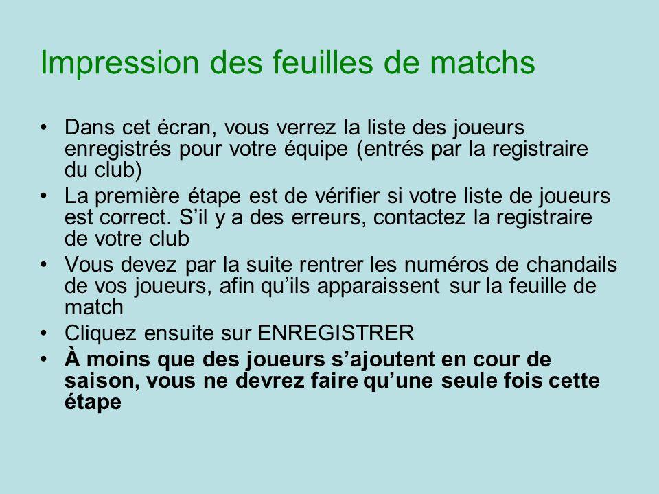 Impression des feuilles de matchs Dans cet écran, vous verrez la liste des joueurs enregistrés pour votre équipe (entrés par la registraire du club) L