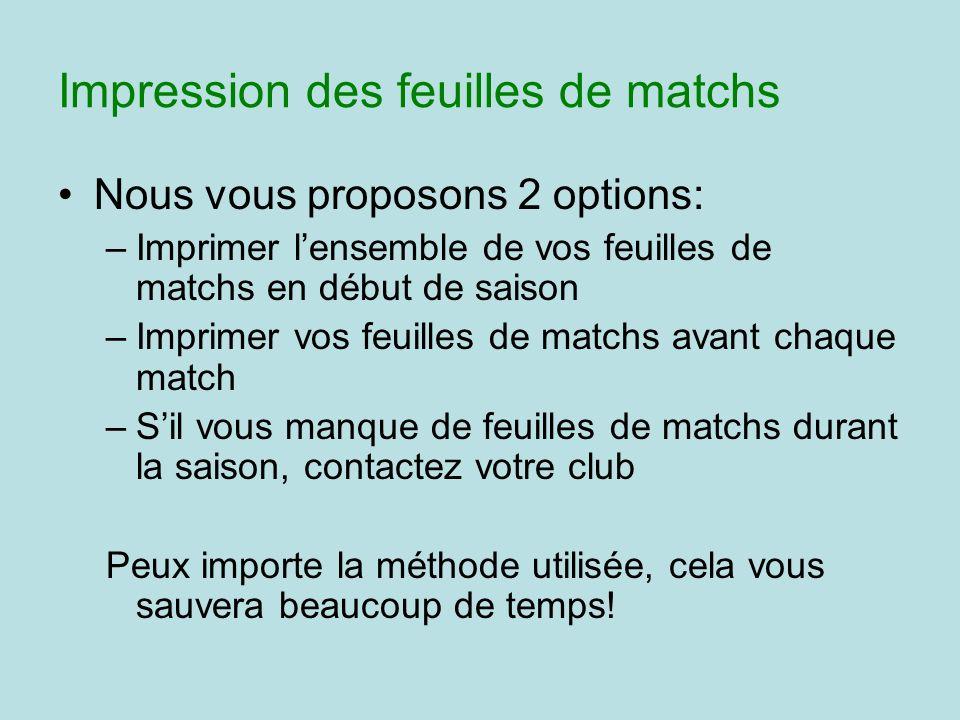 Nous vous proposons 2 options: –Imprimer lensemble de vos feuilles de matchs en début de saison –Imprimer vos feuilles de matchs avant chaque match –S