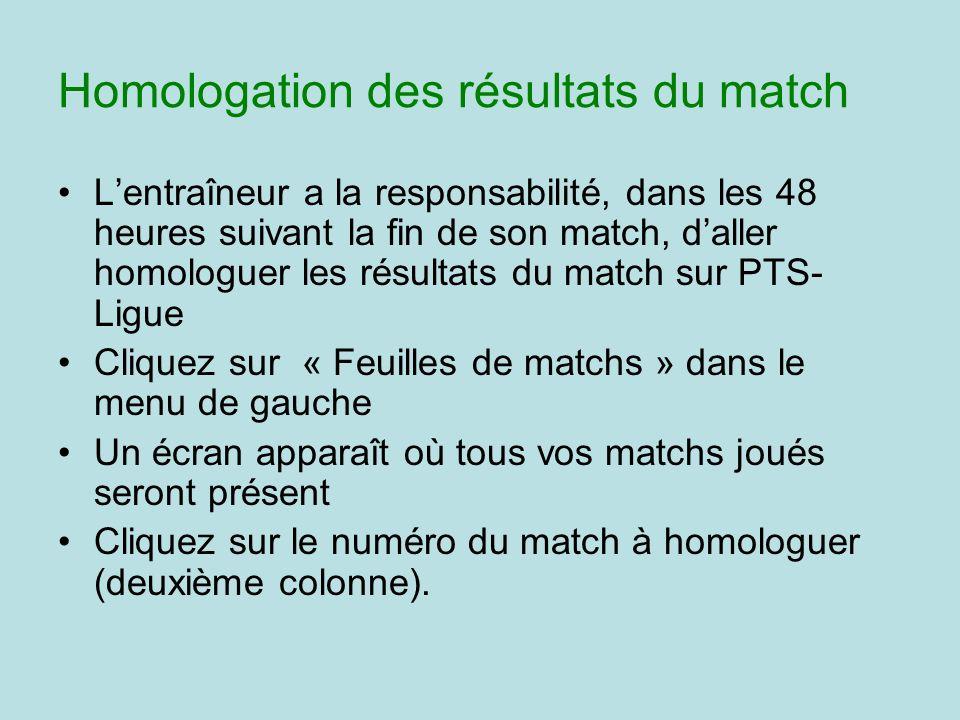 Homologation des résultats du match Lentraîneur a la responsabilité, dans les 48 heures suivant la fin de son match, daller homologuer les résultats d