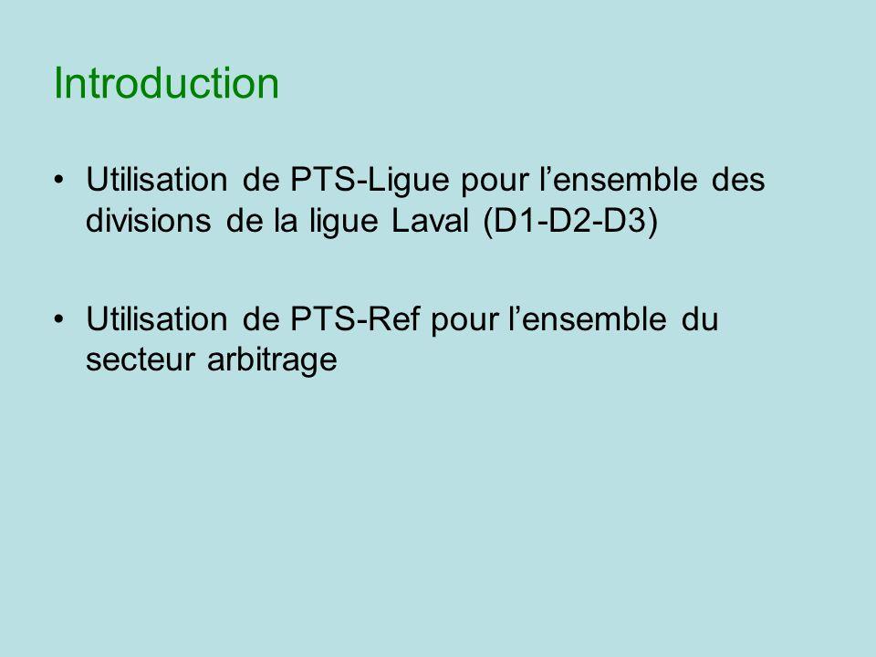 Introduction Utilisation de PTS-Ligue pour lensemble des divisions de la ligue Laval (D1-D2-D3) Utilisation de PTS-Ref pour lensemble du secteur arbit