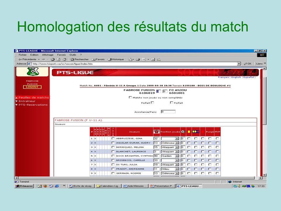 Homologation des résultats du match