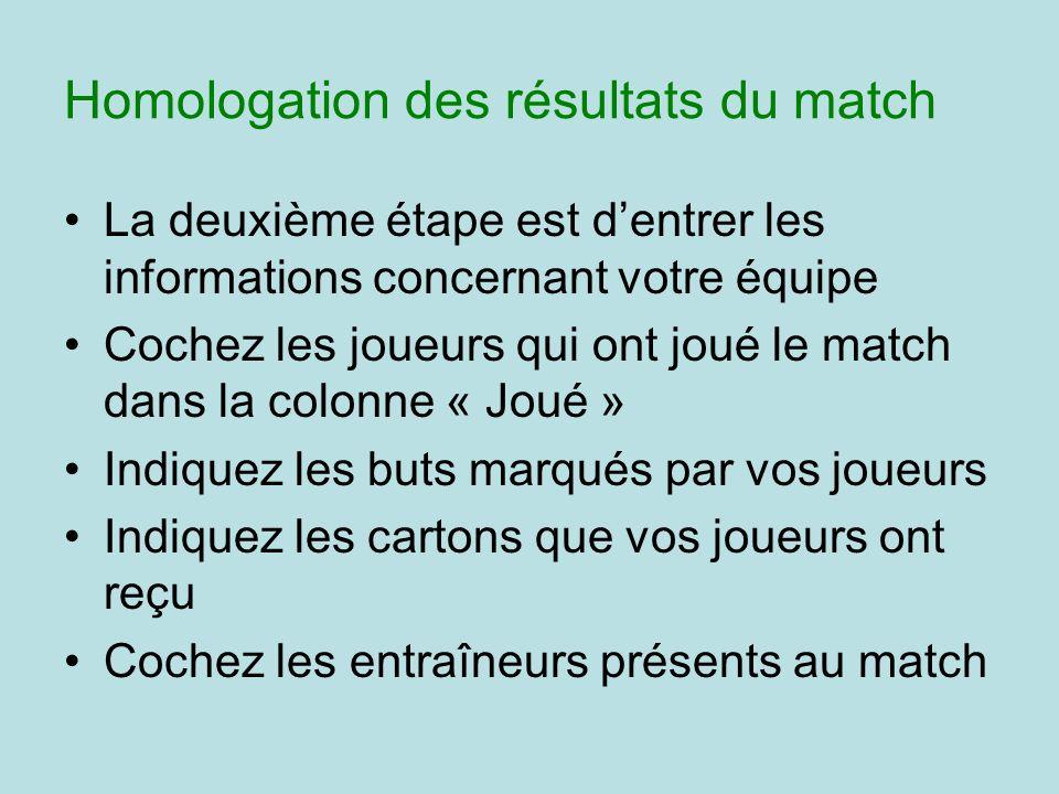 La deuxième étape est dentrer les informations concernant votre équipe Cochez les joueurs qui ont joué le match dans la colonne « Joué » Indiquez les