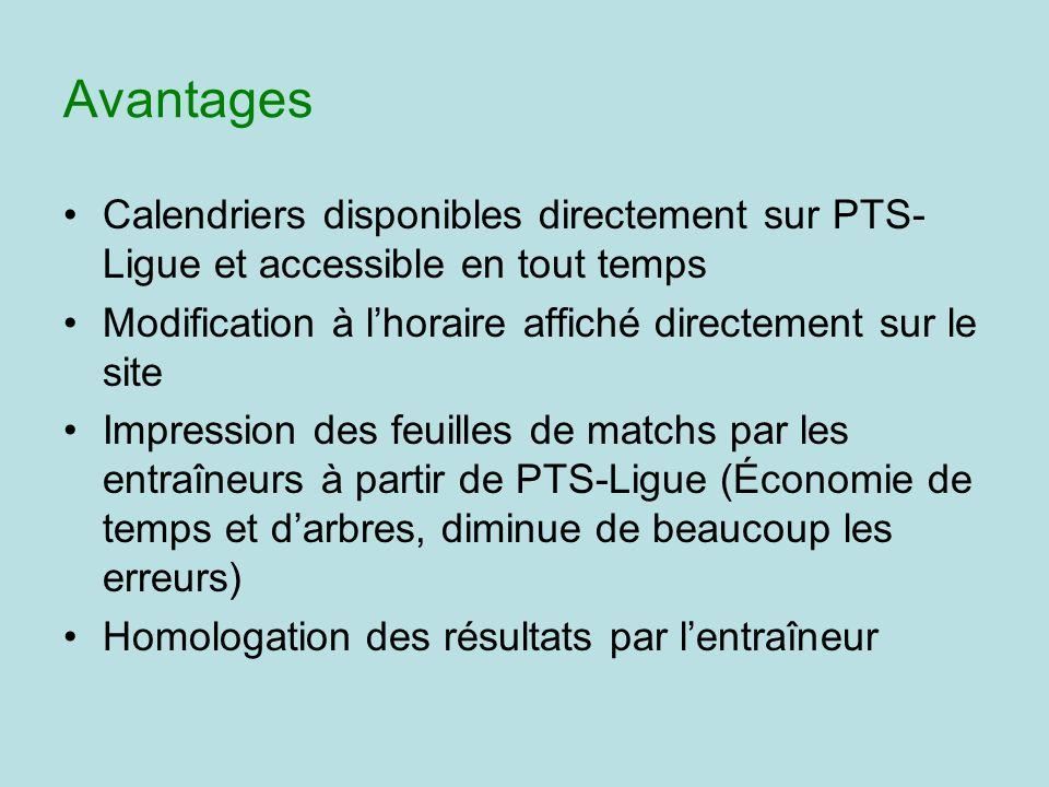 Avantages Calendriers disponibles directement sur PTS- Ligue et accessible en tout temps Modification à lhoraire affiché directement sur le site Impre