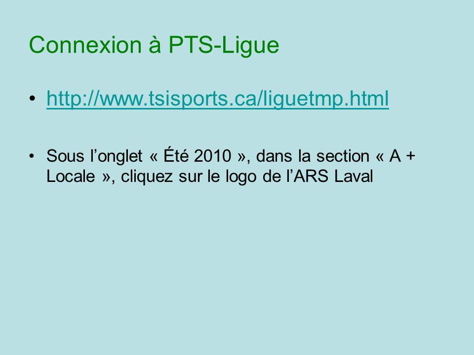 Connexion à PTS-Ligue http://www.tsisports.ca/liguetmp.html Sous longlet « Été 2010 », dans la section « A + Locale », cliquez sur le logo de lARS Laval