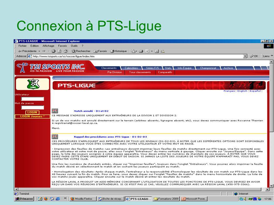 Connexion à PTS-Ligue