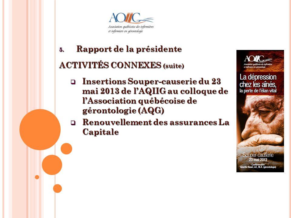 5. Rapport de la présidente ACTIVITÉS CONNEXES (suite) Insertions Souper-causerie du 23 mai 2013 de lAQIIG au colloque de lAssociation québécoise de g
