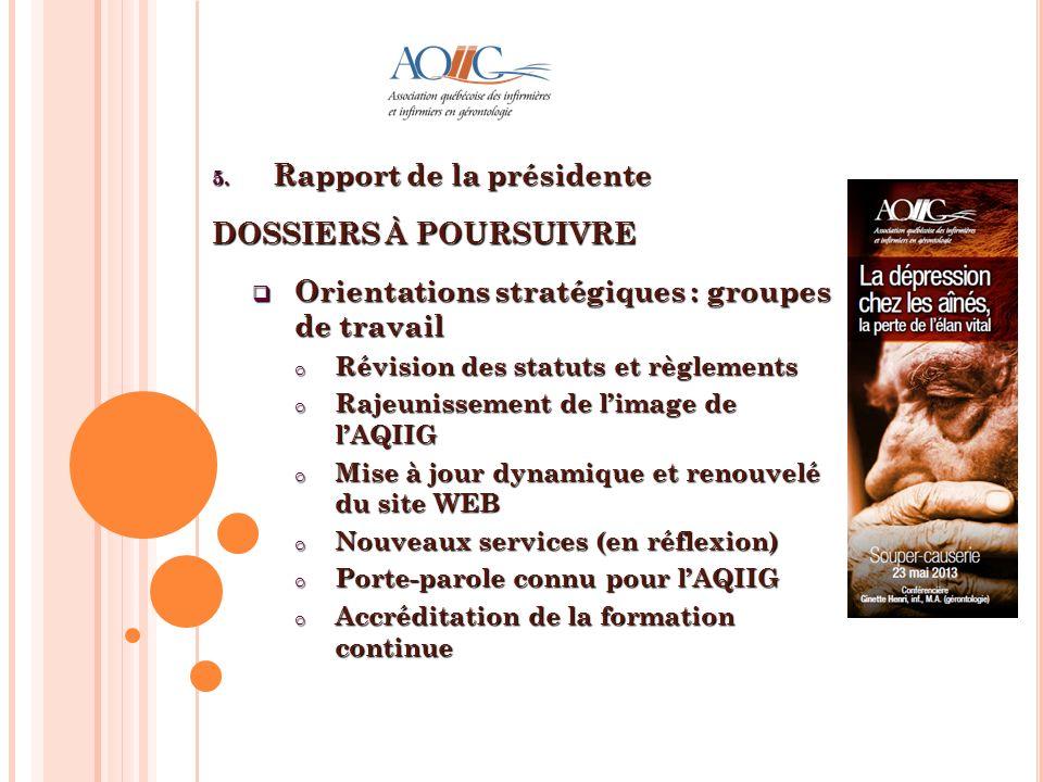 5. Rapport de la présidente DOSSIERS À POURSUIVRE Orientations stratégiques : groupes de travail Orientations stratégiques : groupes de travail o Révi