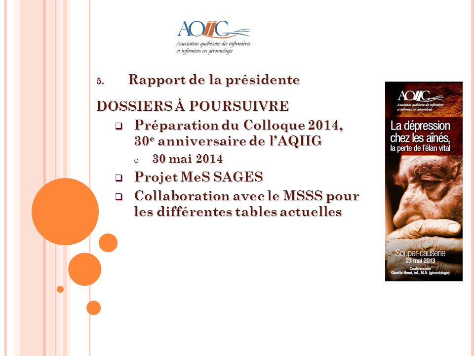 5. Rapport de la présidente DOSSIERS À POURSUIVRE Préparation du Colloque 2014, 30 e anniversaire de lAQIIG Préparation du Colloque 2014, 30 e anniver