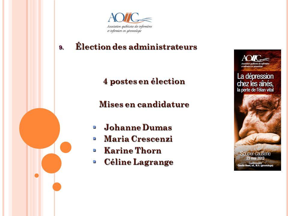 9. Élection des administrateurs 4 postes en élection Mises en candidature Johanne Dumas Johanne Dumas Maria Crescenzi Maria Crescenzi Karine Thorn Kar