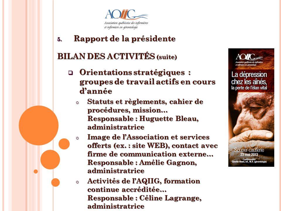5. Rapport de la présidente BILAN DES ACTIVITÉS (suite) Orientations stratégiques : groupes de travail actifs en cours dannée Orientations stratégique