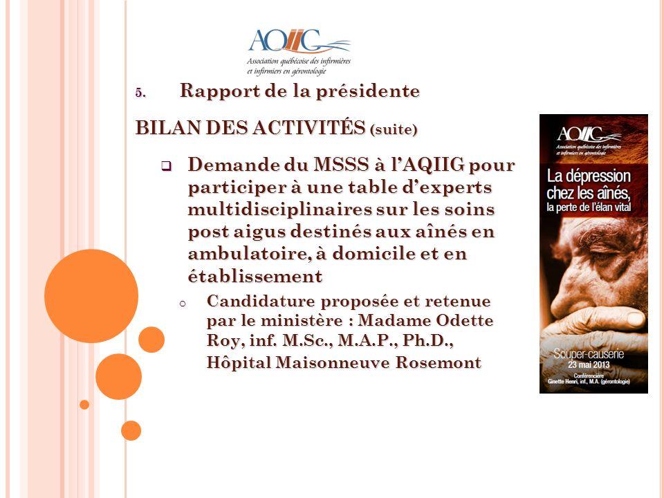 5. Rapport de la présidente BILAN DES ACTIVITÉS (suite) Demande du MSSS à lAQIIG pour participer à une table dexperts multidisciplinaires sur les soin
